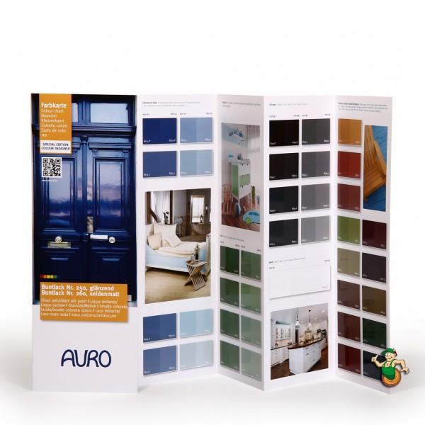 Farbkarte Buntlack Nr. 250 glänzend und Nr. 260 seidenmatt